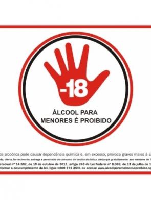 ADESIVO PROIBIDO ÁLCOOL PARA MENORES 21×30 c Impressão Digital c 5 unid