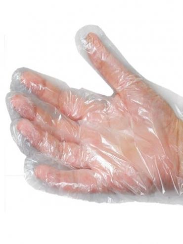 luva de plastico descartavel transparente